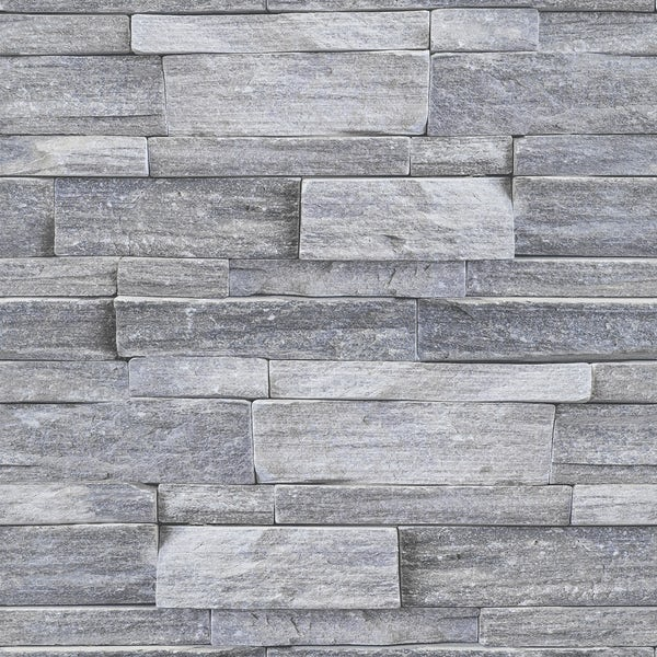 Graham & Brown Superfresco easy grey stone wall wallpaper
