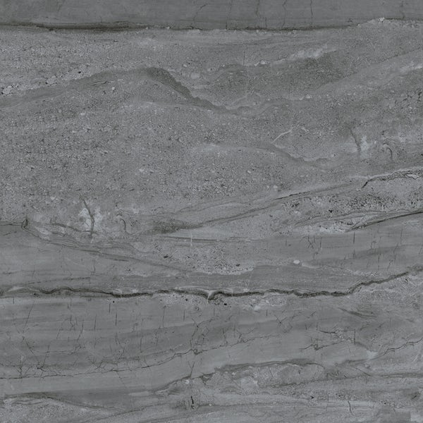 Comet dark grey marble effect gloss wall and floor tile 600mm x 600mm