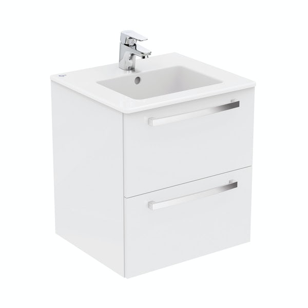 new style ebc58 23b0e Ideal Standard Tempo gloss white wall hung vanity and basin 500mm