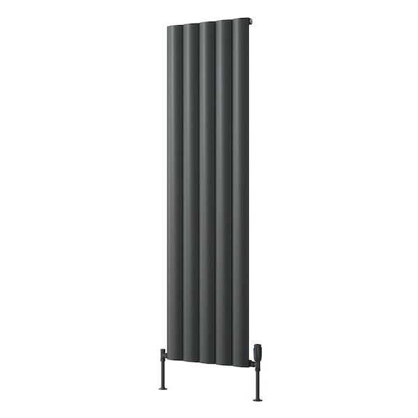 Reina Belva anthracite grey single vertical aluminium designer radiator