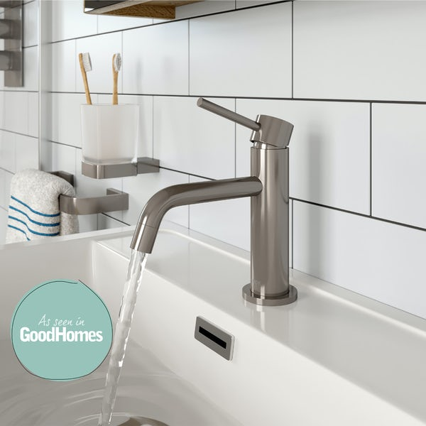 Mode Spencer round brushed nickel basin mixer tap offer pack