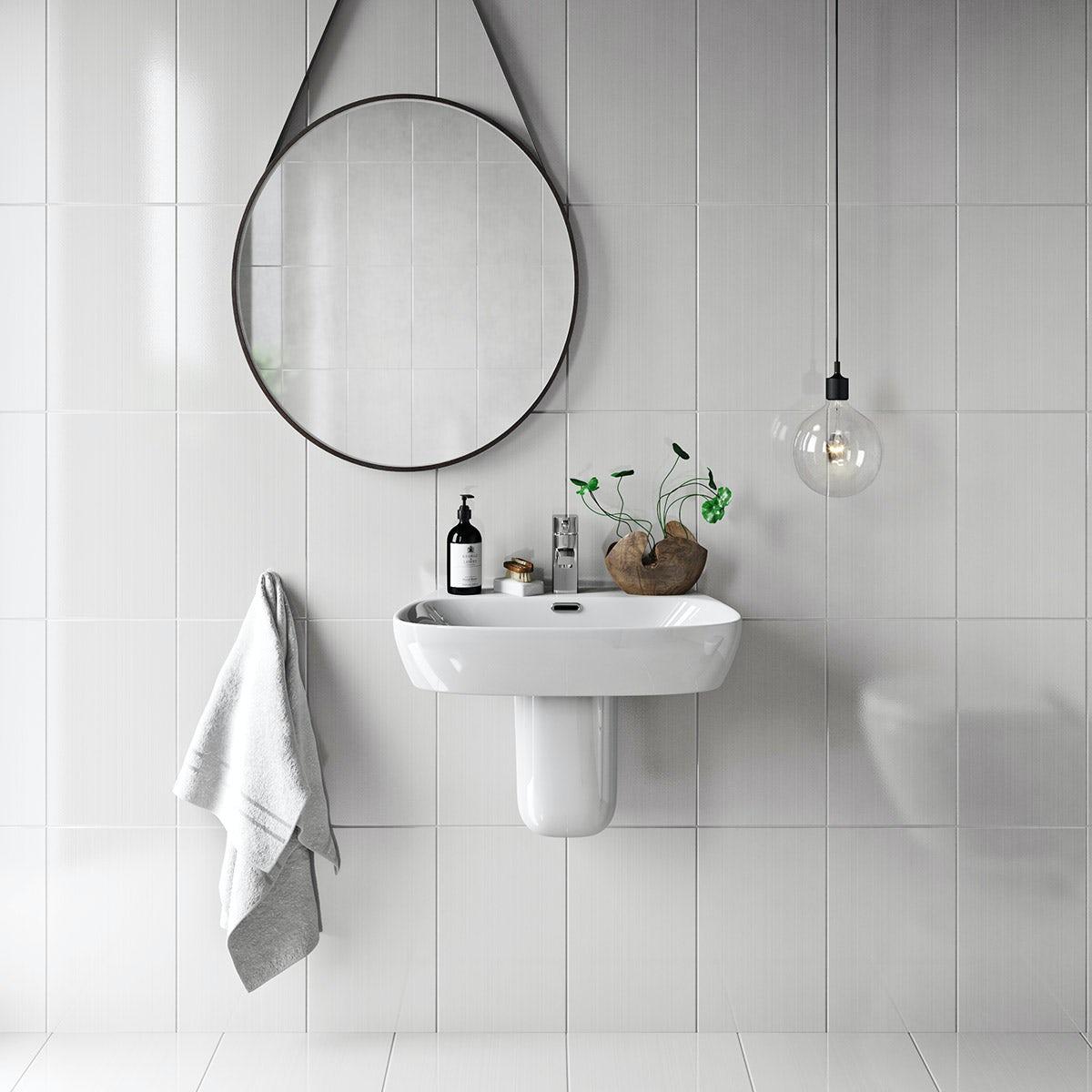 British Ceramic Tile Linear White Gloss Tile 248mm X 398mm - Box Of 10