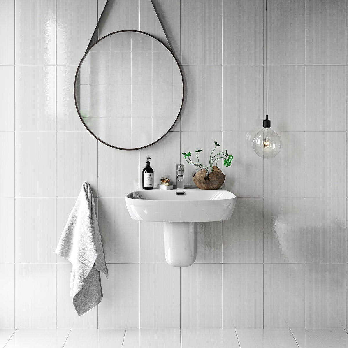 How To Put Up Tiles In A Bathroom: British Ceramic Tile Linear White Gloss Tile 248mm X 398mm