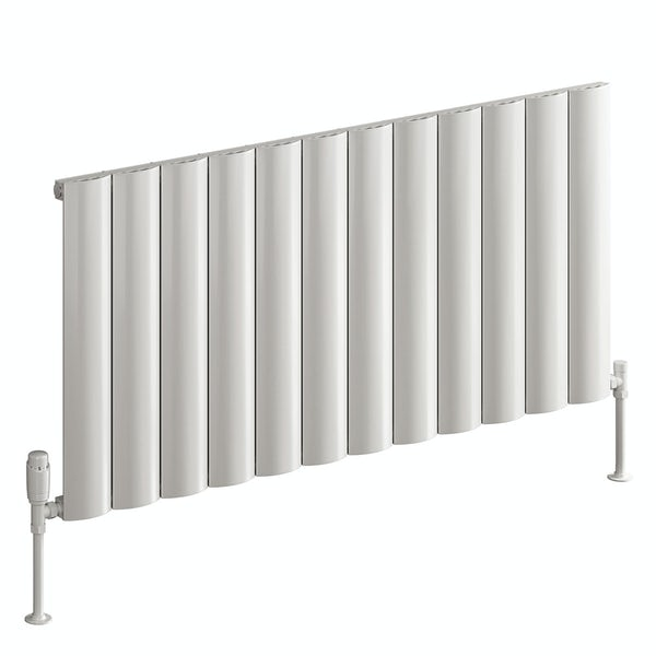 Reina Belva white single horizontal aluminium designer radiator
