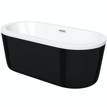 Orchard Wharfe black freestanding bath 1770 x 800