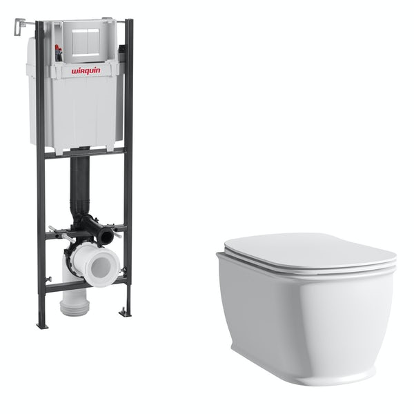 The Bath Co. Beaumont wall hung toilet with soft close seat and wall mounting frame with push plate cistern