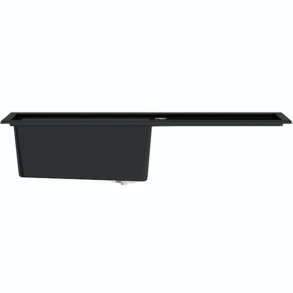 Bristan Gallery quartz right handed black easyfit 1.0 bowl kitchen sink with Melba black tap