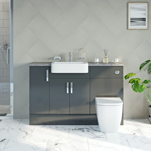 Mode Nouvel gloss grey small fitted furniture combination with grey worktop