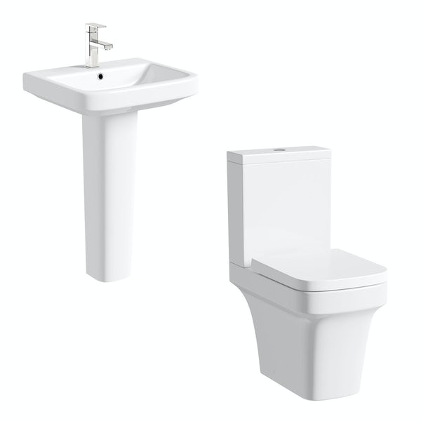 Mode Carter close coupled toilet and full pedestal basin suite