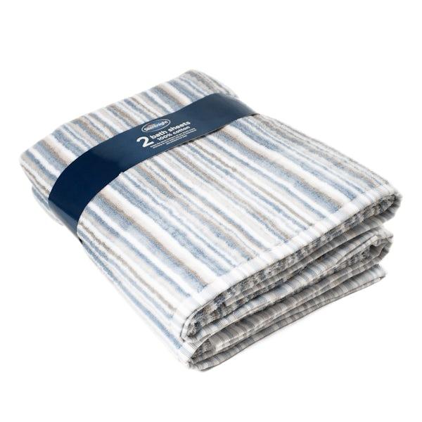 Silentnight Set of 2 Stripe Bath Sheet