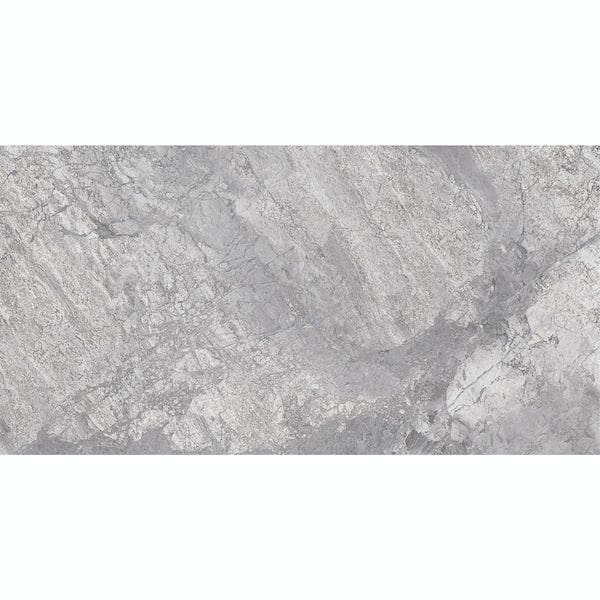 Fusion grey marble effect gloss wall and floor tile 300mm x 600mm