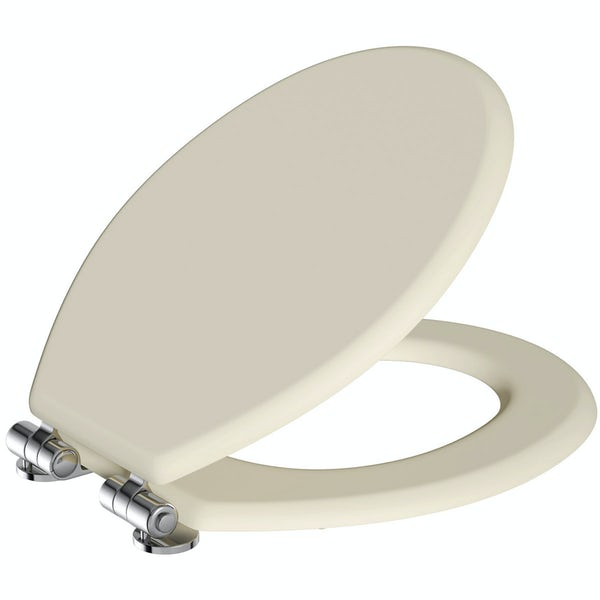 The Bath Co. traditional Camberley satin ivory engineered wood toilet seat with top fixing soft close hinge