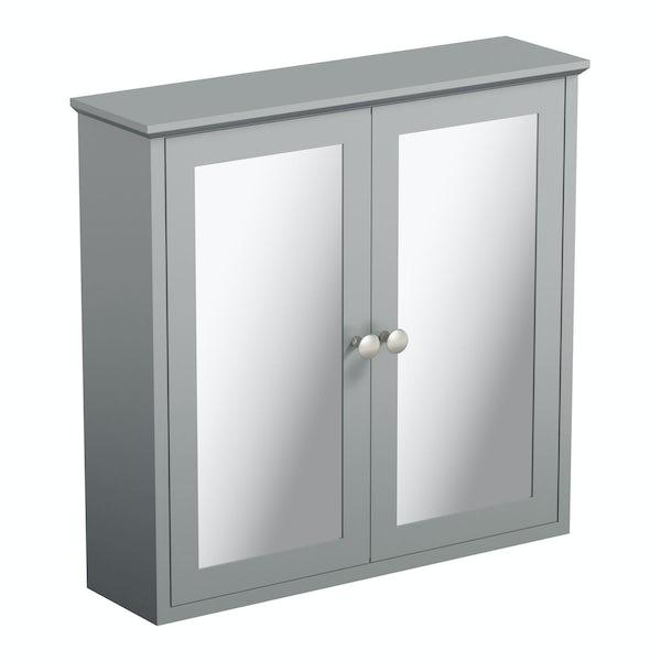 The Bath Co. Camberley satin grey wall hung mirror cabinet