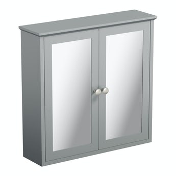 The Bath Co. Camberley satin grey wall hung mirror cabinet
