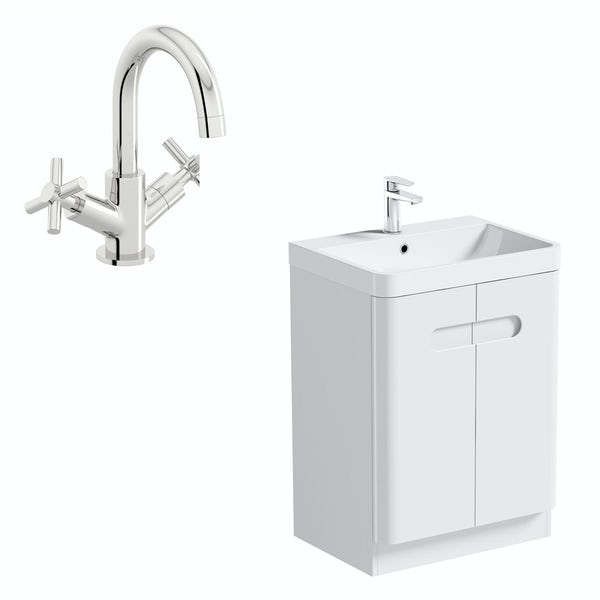 Mode Ellis white floorstanding vanity door unit and basin 600mm with tap
