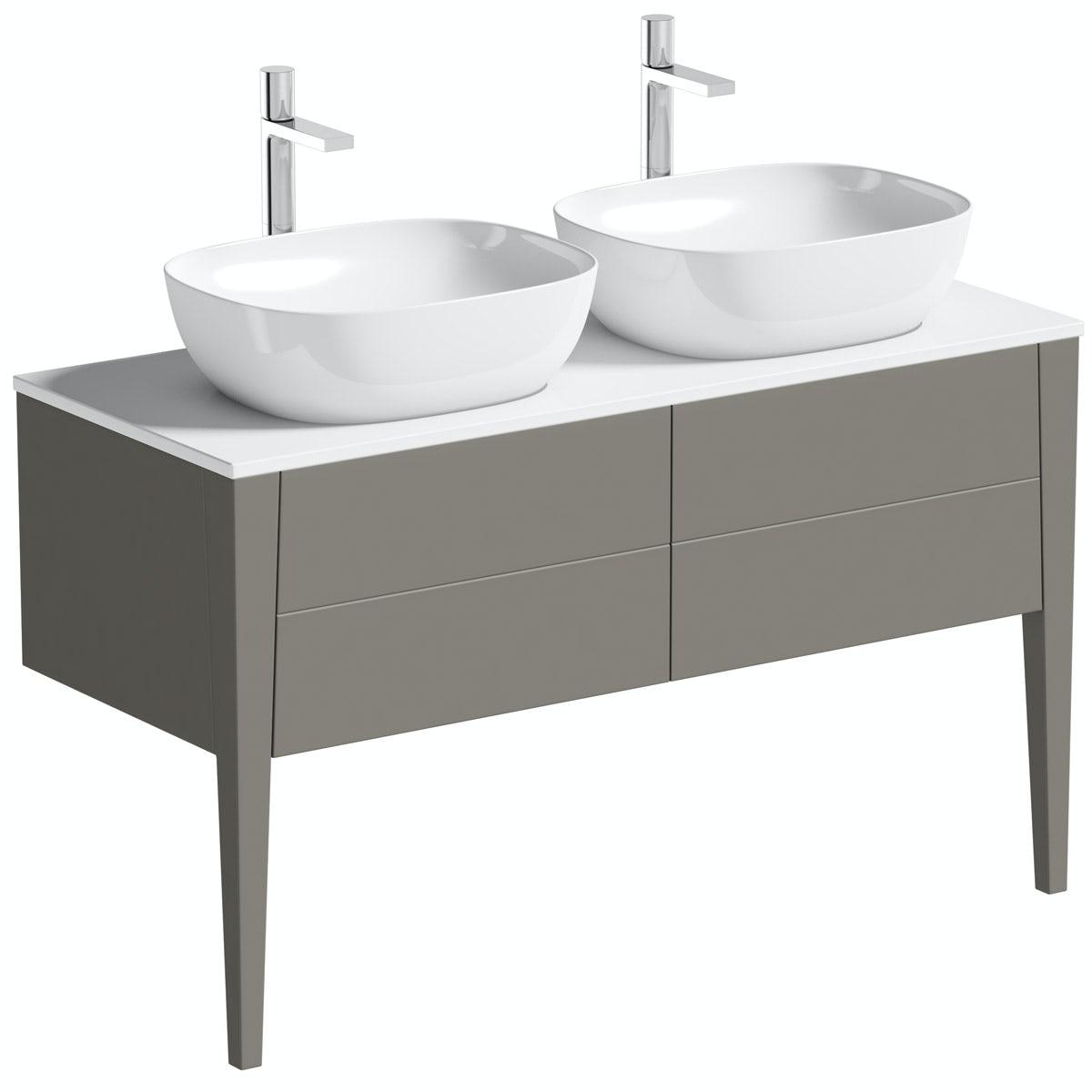 Mode Hale greystone matt countertop double basin vanity unit 1200mm