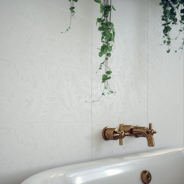 V&A Serenity larkspur white matt wall tile 248mm x 498mm