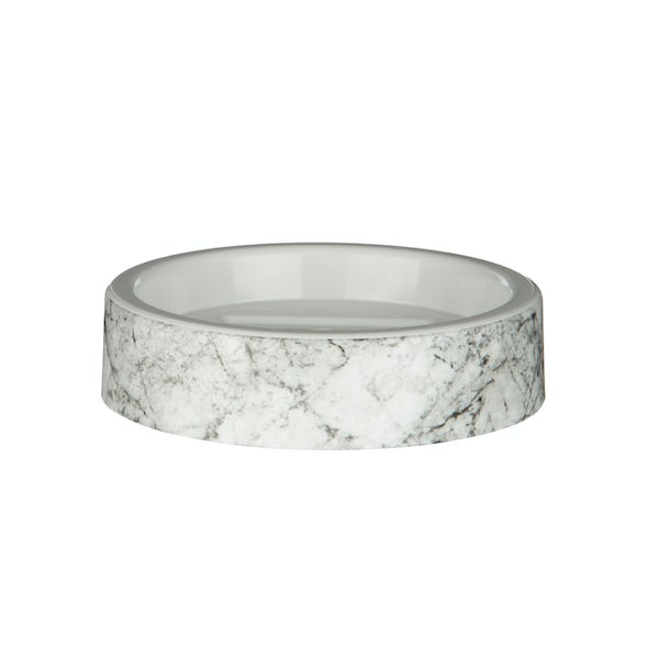 Accents Rome black and white marble effect soap dish