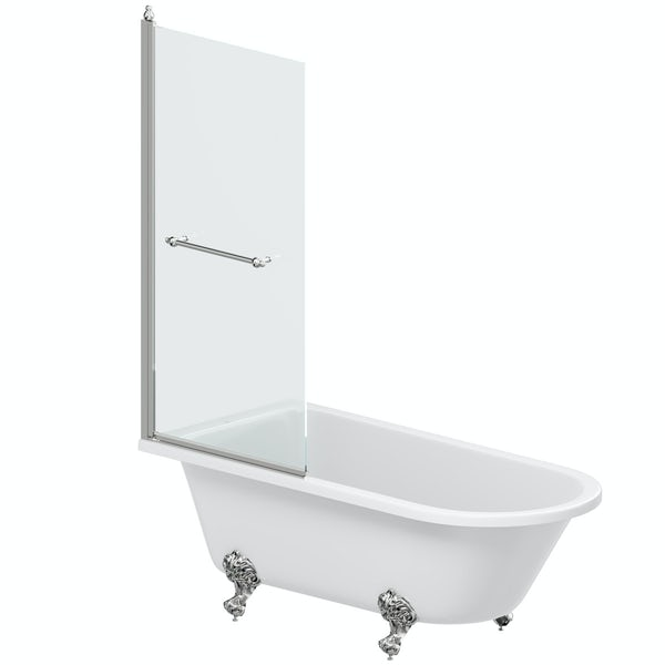 The Bath Co. Dulwich traditional freestanding shower bath with 8mm shower screen and rail
