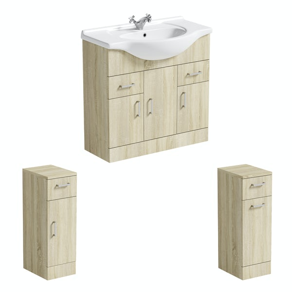 Orchard Eden oak vanity unit and ceramic basin 850mm with storage unit and linen basket