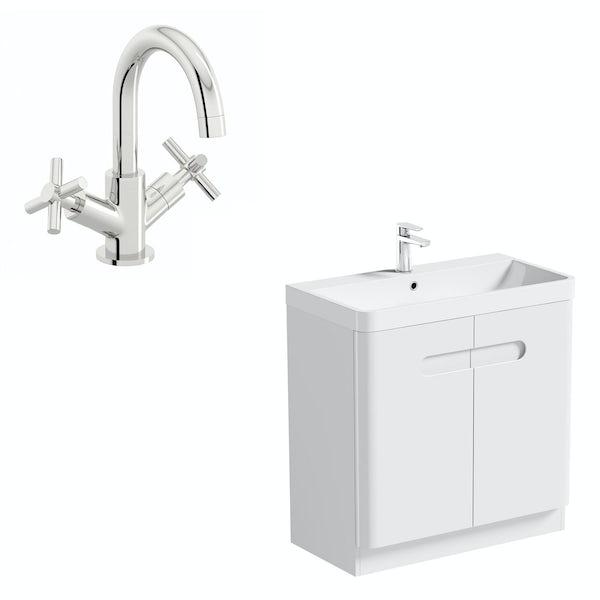 Mode Ellis white floorstanding vanity door unit and basin 800mm with tap