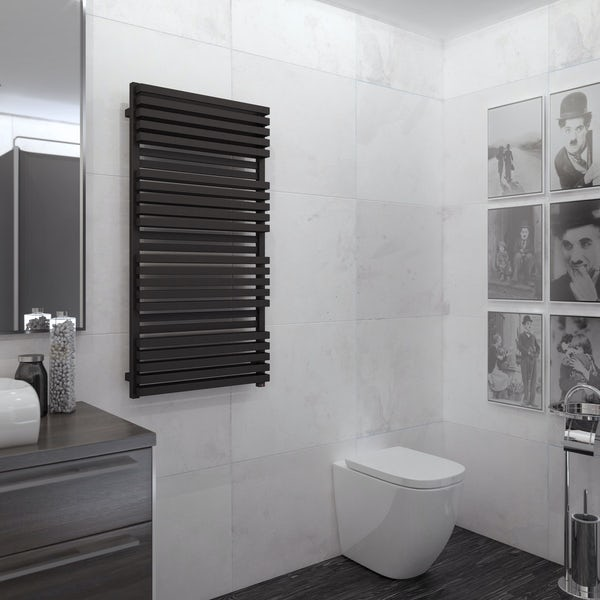 Terma Quadrus Bold ONE metallic black electric towel rail