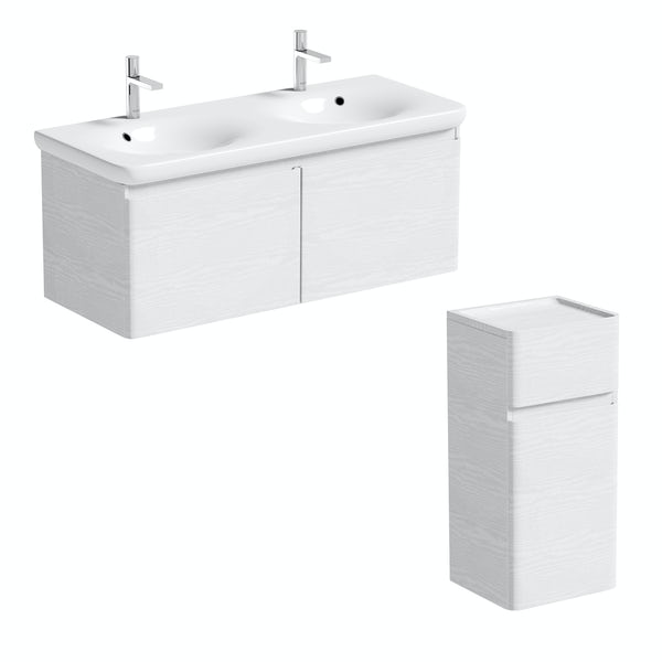 Mode Heath white LED wall hung vanity unit and basin 1200mm and storage unit set