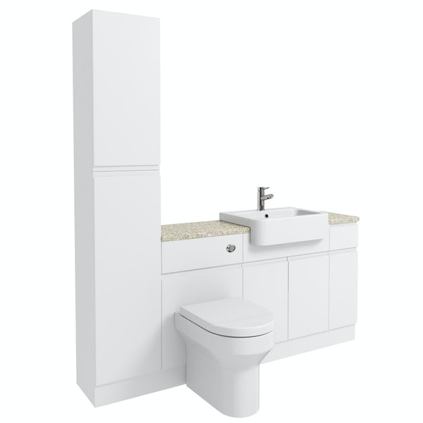 Orchard Wharfe white straight small storage fitted furniture pack with beige worktop