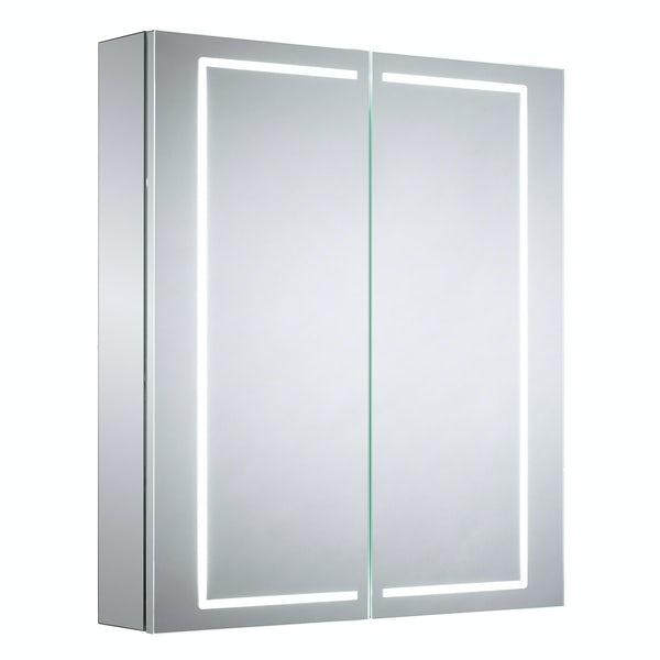 Mode Pelli diffused LED illuminated mirror cabinet 700 x 600mm with demister & charging socket