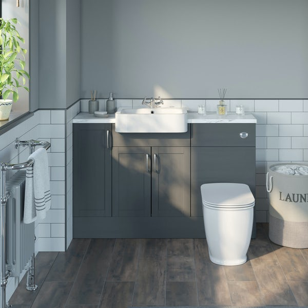 The Bath Co. Newbury dusk grey small fitted furniture combination with white marble worktop