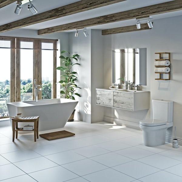 Mode Burton white and rustic freestanding bath suite 1500 x 780