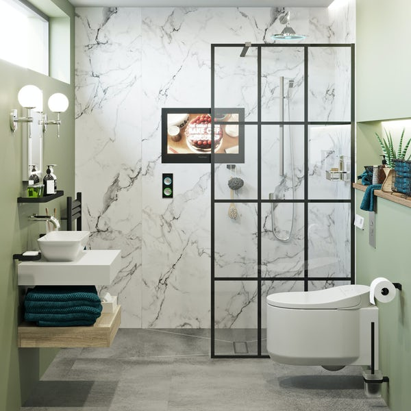 Mode 8mm black framed wet room glass panel with walk in shower tray