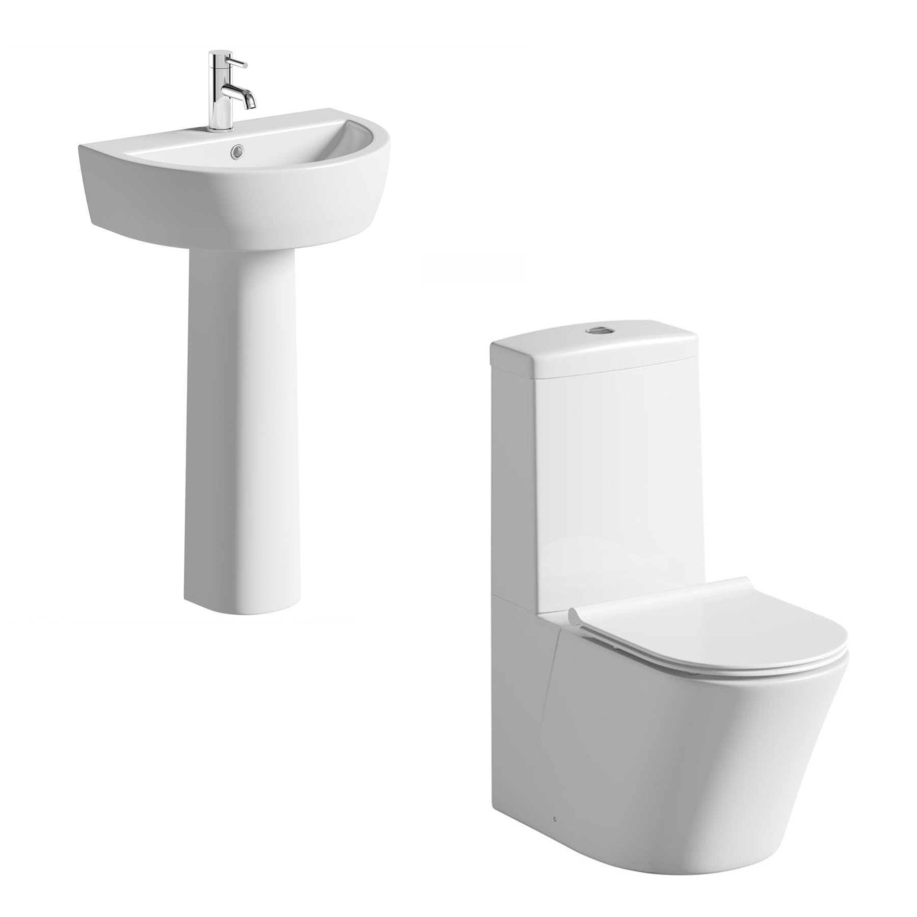 Mode Tate cloakroom suite with pedestal basin 550mm