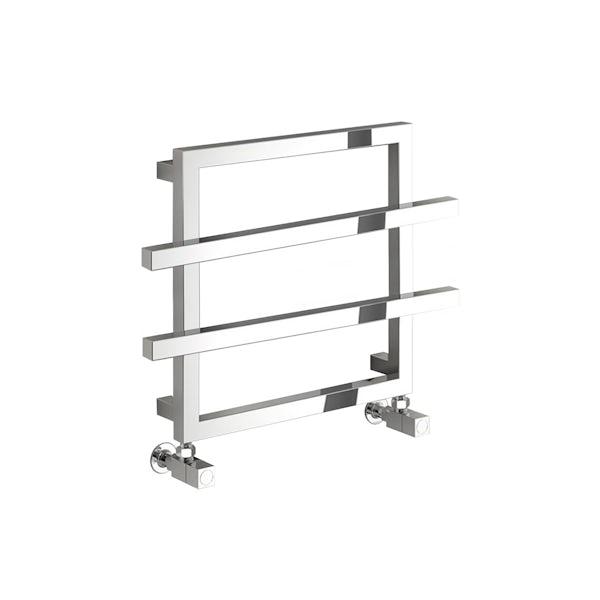 Reina Lago 2 chrome double bar steel designer towel rail 450 x 600