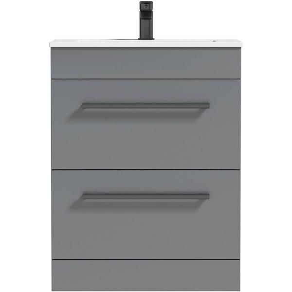 Orchard Derwent stone grey floorstanding vanity drawer unit with black handle and ceramic basin 600mm