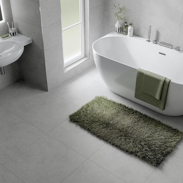 Volta white stone effect flat matt wall and floor tile 300mm x 600mm