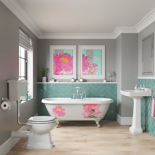 Louise Dear Kiss Kiss Bam Bam traditional complete bathroom suite with freestanding bath