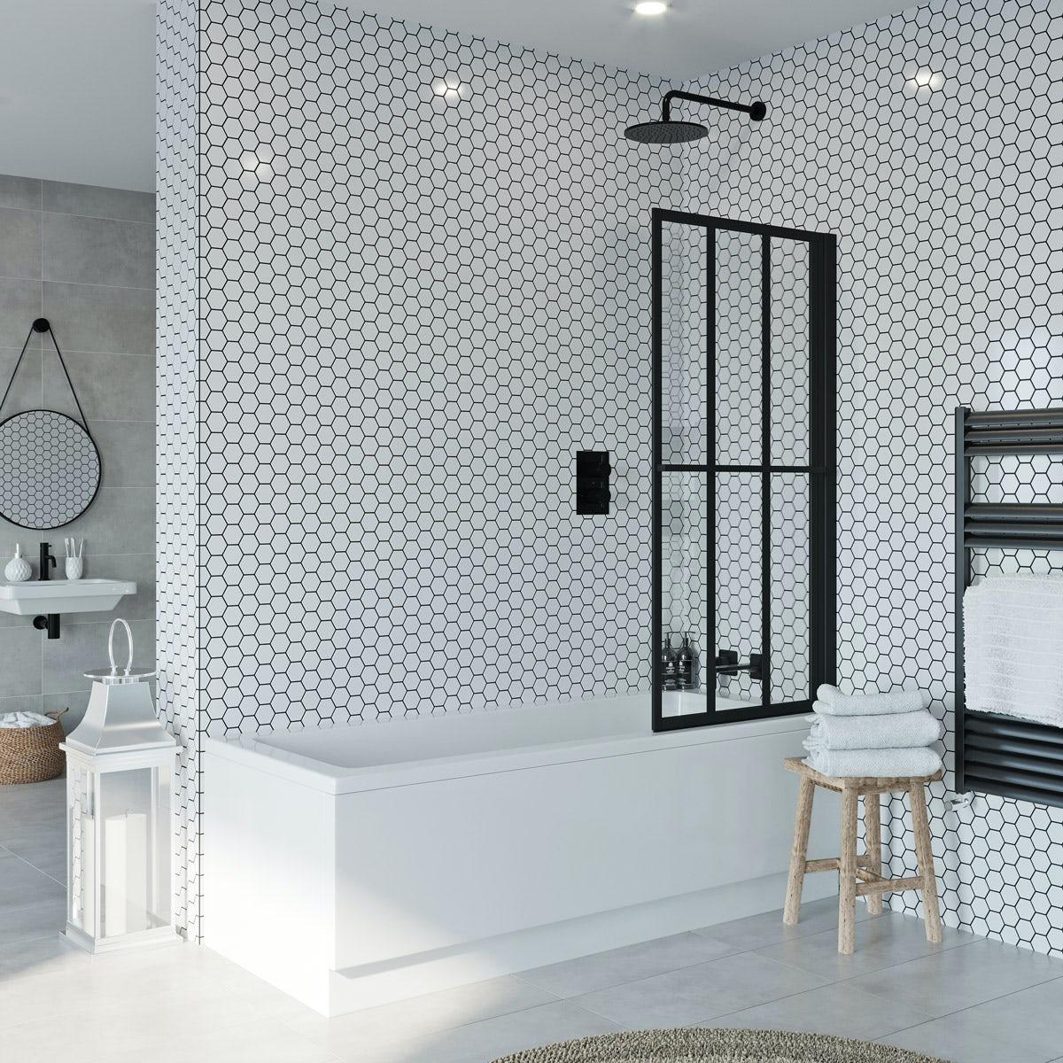 Jacuzzi Loft Black Framed Rising Shower Bath Screen Victoriaplum Com