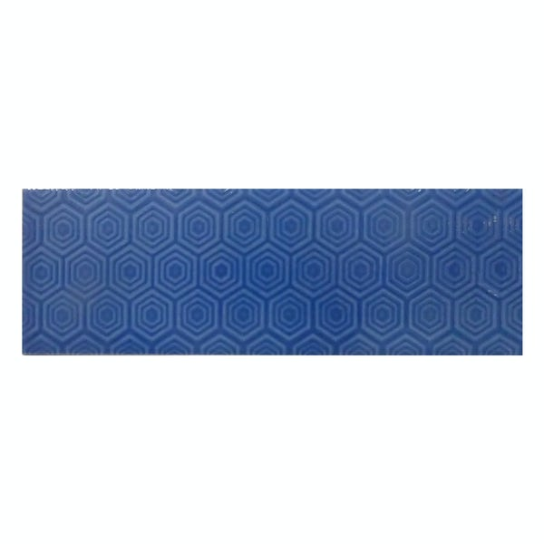 Zenith blue patterned gloss wall tile 100mm x 300mm