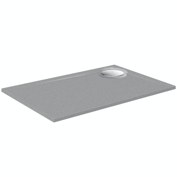 Mode grey granite effect left handed rectangular stone shower tray 1200 x 800