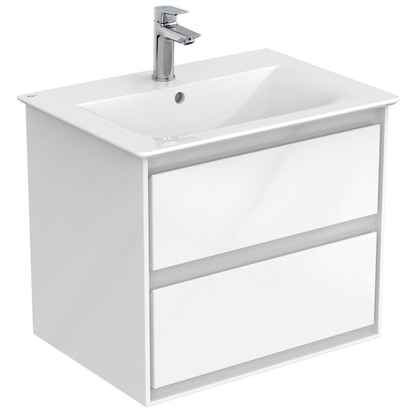 Ideal Standard Concept Air complete white furniture and left hand Idealform Plus shower bath suite 1700 x 800
