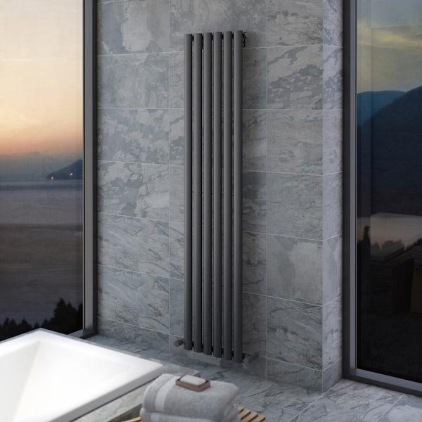 Mode Tate anthracite grey single vertical radiator