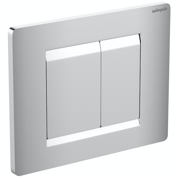 Mode Burton wall hung toilet with soft close seat and wall mounting frame with push plate cistern