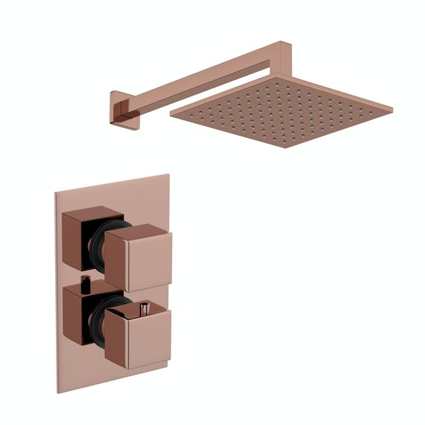 Mode Spencer square rose gold twin valve shower set