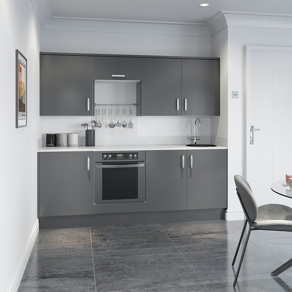 Schon Boston mid grey slab kitchen base and wall unit bundle