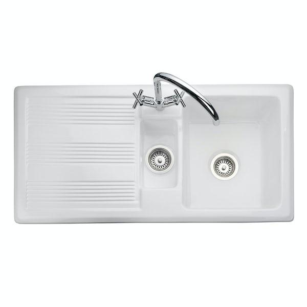 Rangemaster Portland 1.5 bowl reversible white ceramic kitchen sink