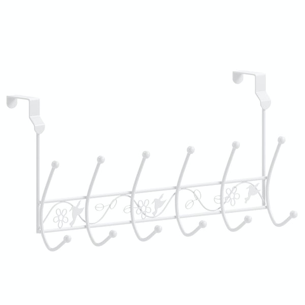 Over door 12 hook hanger with white finish