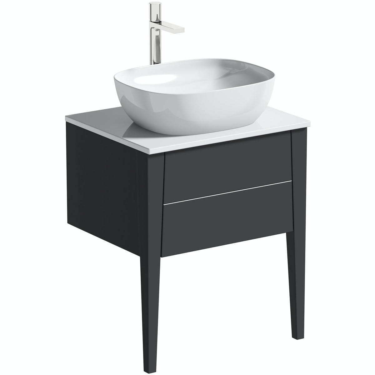 Mode Hale Grey Stone Matt Wall Hung Vanity Unit With Ceramic Countertop And Basin 600mm