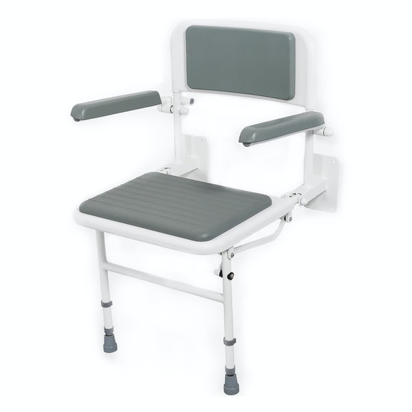 Nymas NymaPRO wall mounted padded white shower seat