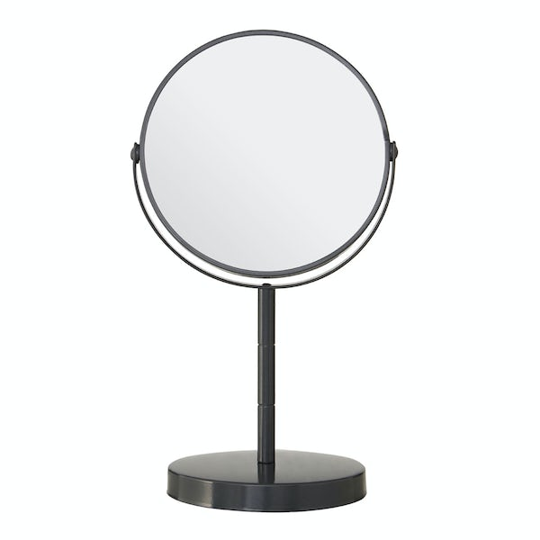 Grey small freestanding vanity mirror with 2x magnification